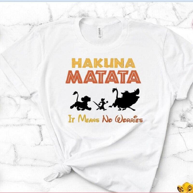 Harajuku Hakuna Matata Tshirt Women Female Femme Tee Shirts Funny Girl T Shirt Letter Printed T-shirt Grunge Summer Camiseta