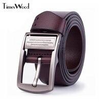[TIMESWOOD] 3.8 cm de Ancho de Alta Calidad de Metal Pin Hebilla de Cuero Auténtico Cinturones de cuero de Vaca de Color Marrón Claro Negro Pantalones Vaqueros de Los Hombres cinturón de Vaquero Pretina