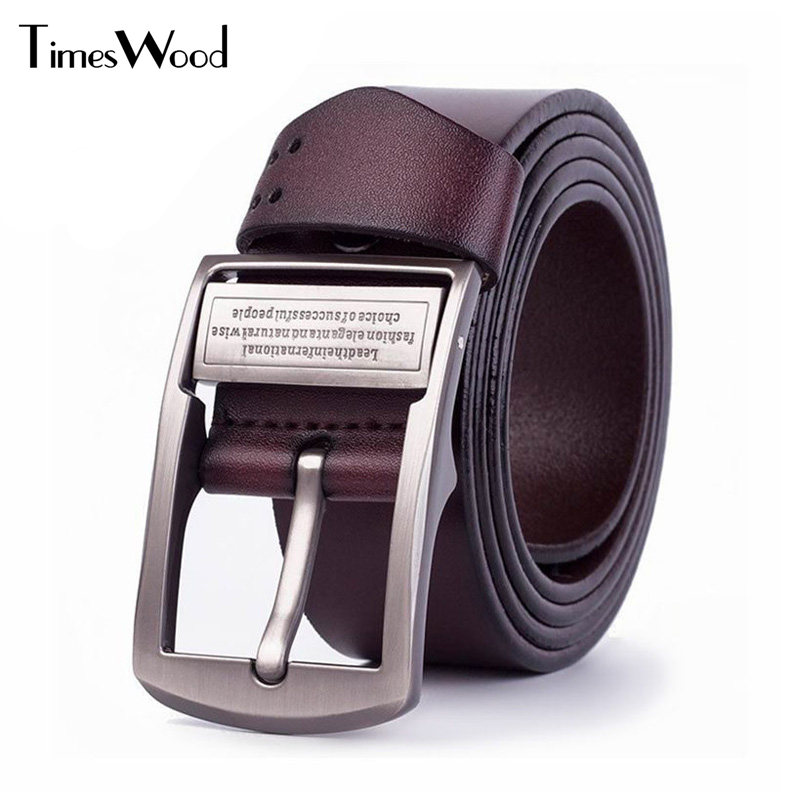 [TIMESWOOD]3.8cm Wide High Quality Metal Pin Buckle Real Leather Belts Cowhide Plain Brown Black Men Jeans Belt Cowboy Waistband