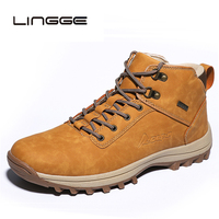 LINGGE Mens Casual Boots Vintage Design Men Boots Soft Ankle Boots Shoes Brand PU Leather Men Work Boots Big Size 39 48