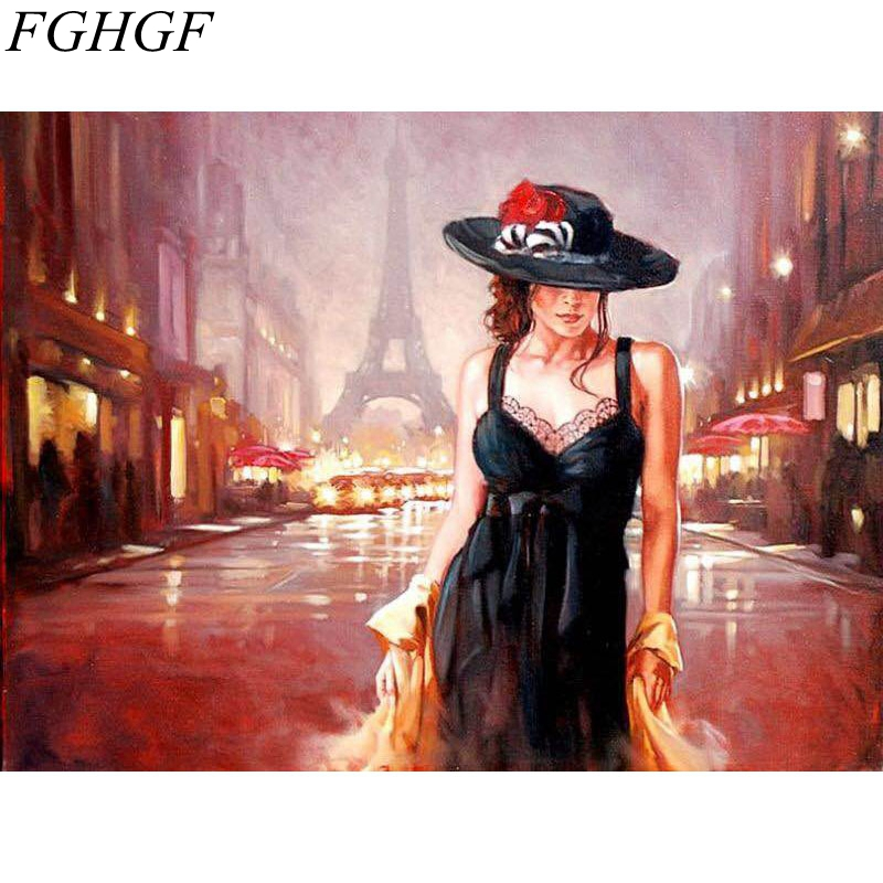 FGHGF Frameless Sexy Girl In <font><b>Paris</b></font> Figure Painting DIY Painting By Numbers Kits Coloring Paint By Numbers Modern Wall Art image
