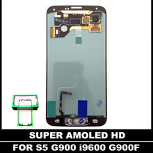 SUPER AMOLED LCDS For Samsung Galaxy S5 I9600 G900 G900A G900F LCD Display Touch Screen Assembly Home Button Replacement Sticker(China)