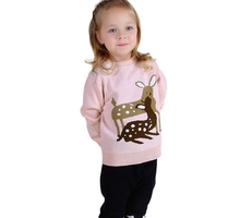 Baby Girls Sweaters 2016 INS Hot Cute Deer Embroidery Pink Pullovers Autumn Winter Clothing Kids Casual Sweater 12M-5Y GW56