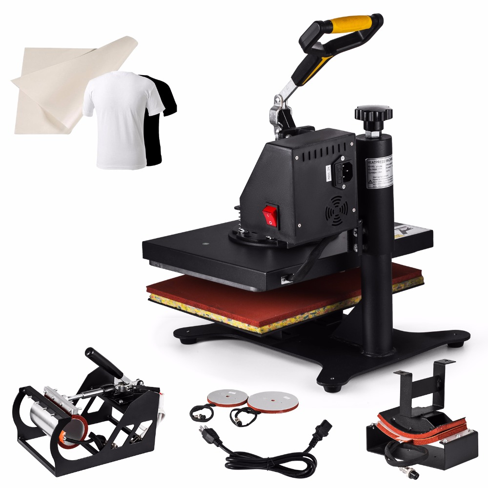 5IN1 Heat Press Maschine T-shirt 30x25cm Digital Hitze-Pressen Timer Control