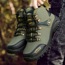 BOOMING men Hiking Shoes Ankle high Professional Waterproof