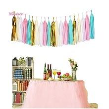 20Pcs Tissue Paper Tassel Garland Pink Blue Banner DIY Party for Birthday Baby Shower Wedding Decorations