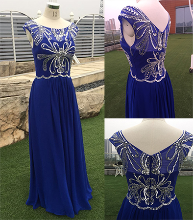 In Stock Long Royal Blue Shiny Crystals Women Formal Occasion Wear Chiffon A Line Evening Gown