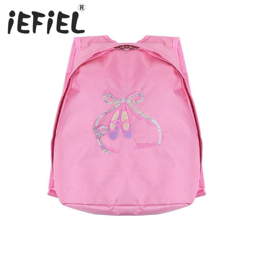 iEFiEL Kids Girls Children Lovely Ballet Dance Backpack Shiny Sequins Toe Shoes Embroidered Ballerina Kids Shoulder Ballet Bag