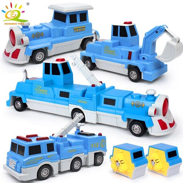 3PCS Construction Engineering Excavator Magnetic Building Blocks DIY Magic Train Truck Vehicle Set Educational Toys For Children