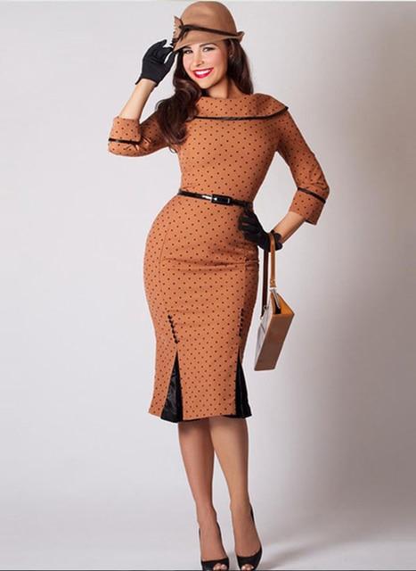 Vintage Spring women Bodycon Pencil dress Polka Dots High-Waist Patchwork zipper office lady work slim fashion adjustable waist