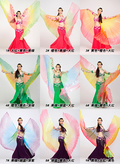 2018 mais novo gradiente cores egípcio dança do ventre traje profissional isis asas (não vara) 9 cores disponíveis