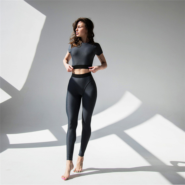 GXQIL Women Sport Suit T-shirts Legging Kits Woman Yoga Sets Fitness Gym  Clothes Brand Female Tights Push Up 2018 New Drop Ship a5647bce9