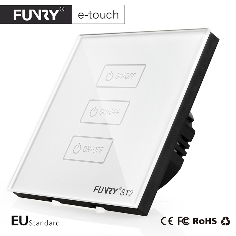 FUNRY EU Standard Light Switch, Crystal Glass Panel,3 Gang 1 way, Smart Home Touch Switch,AC110-250V/1000W Wall Switch for Light 2017 smart home wall switch white crystal glass panel light touch switch 1 gang 1 way ac 110 250v 1000w for light