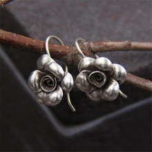 JINSE  Real 925 Sterling Silver Earrings Vintage Thai Rose Flower Pure Handmade Bangkok Jewellery Boutique 12*14MM