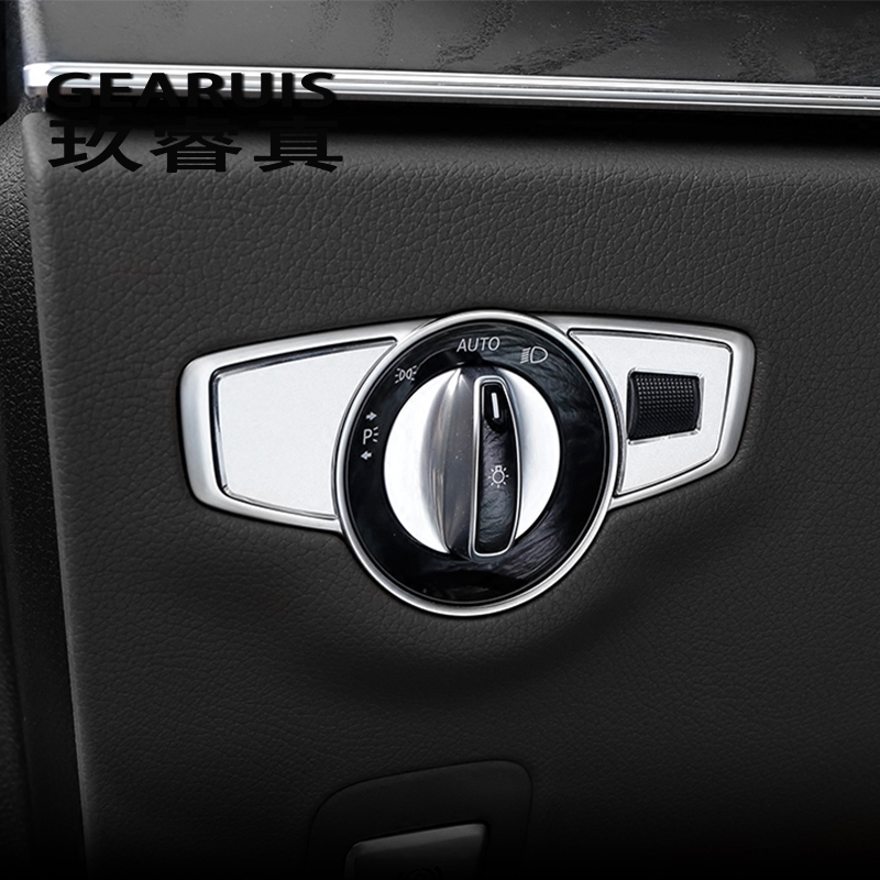 Car Styling Headlight Switch Buttons Decor Cover Interior Trim Car Sticker For Mercedes Benz GLC C E Class W205 W213 Accessories