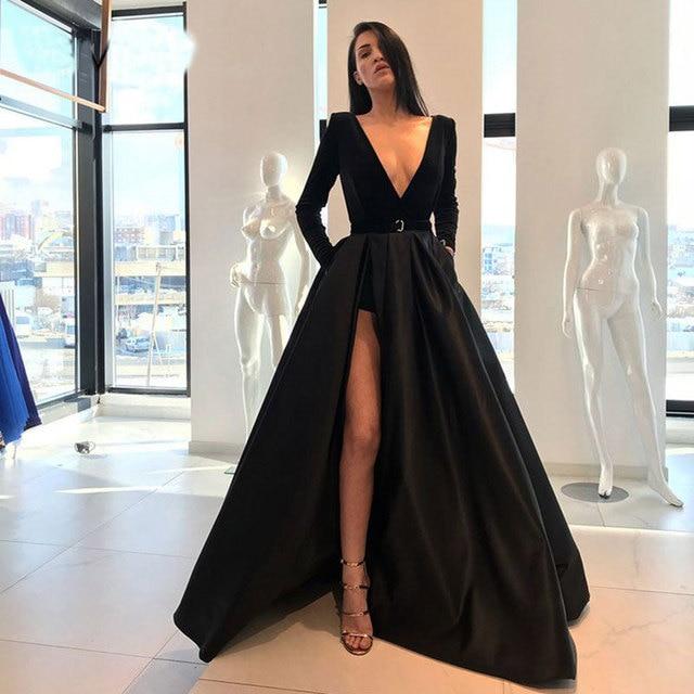 Black dark green velour prom party evening dresses vestido de noiva sereia gown satin robe de soiree elegant frock side slit 2