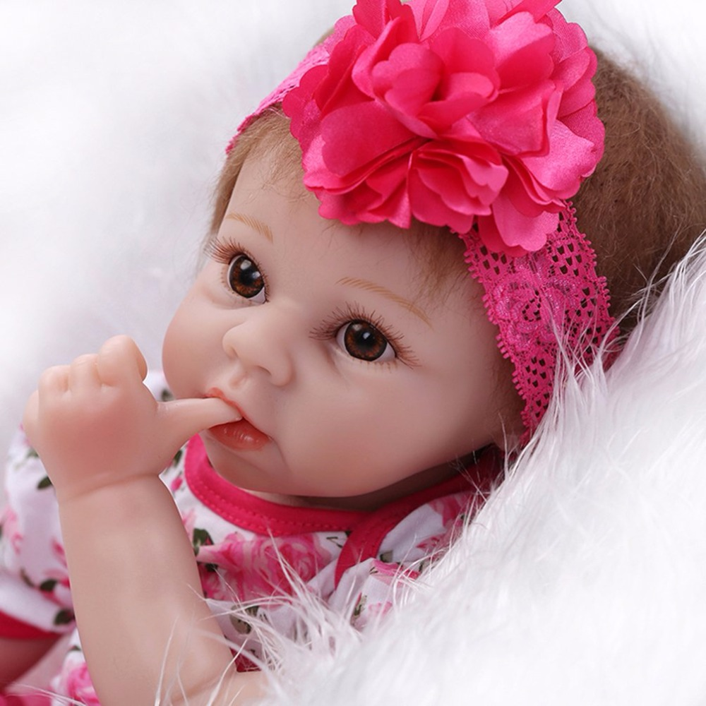 55cm Baby Soft Silicone Body Lifelike Reborn Doll Toy Beautiful Newborn Princess Pink Dress Girl Bebe-reborn Doll Toys For Girls high quality wedding dress doll 45cm 55cm beautiful elegant pink feather dhl or fedex page 3