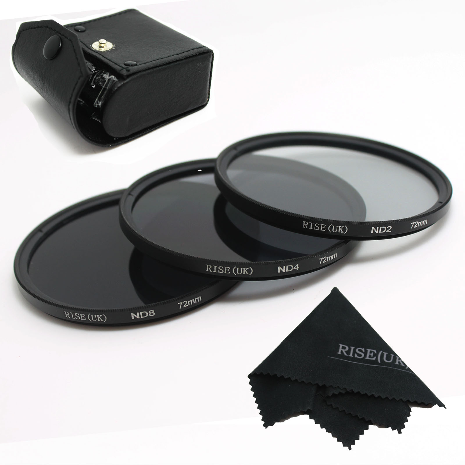 Alto quanlity! 100% guarantee RISE (UK) nuevo profesional 72mm ND2 nd4 ND8 Kit de filtro macro para Canon Nikon Sony Pentax envío gratis