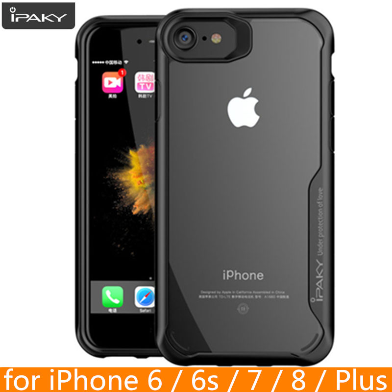 för iPhone 8 8 Plus Fodral Original IPAKY 6 6s 7 Plus Silikon Akryl Hybrid Shockproof Transparent Väska för iPhone X XS MAX XR
