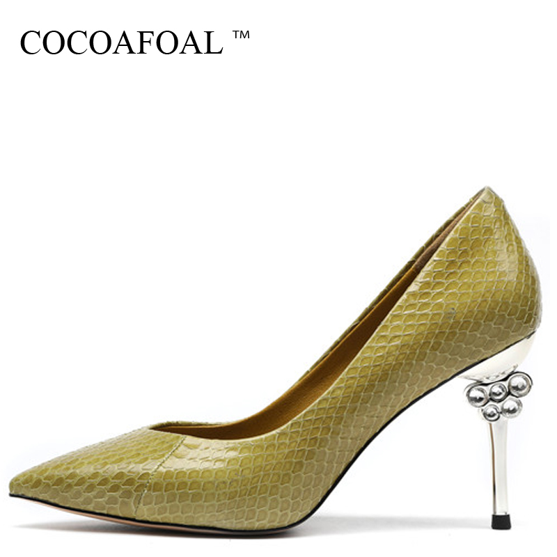 COCOAFOAL Woman Snake Skin High Heels Shoes Green Black Sexy Genuine Leather Wedding Bridal Shoes Party Rhinestone Sandals Pumps cocoafoal woman green high heels shoes plus size 33 43 sexy stiletto red wedding shoes genuine leather pointed toe pumps 2018