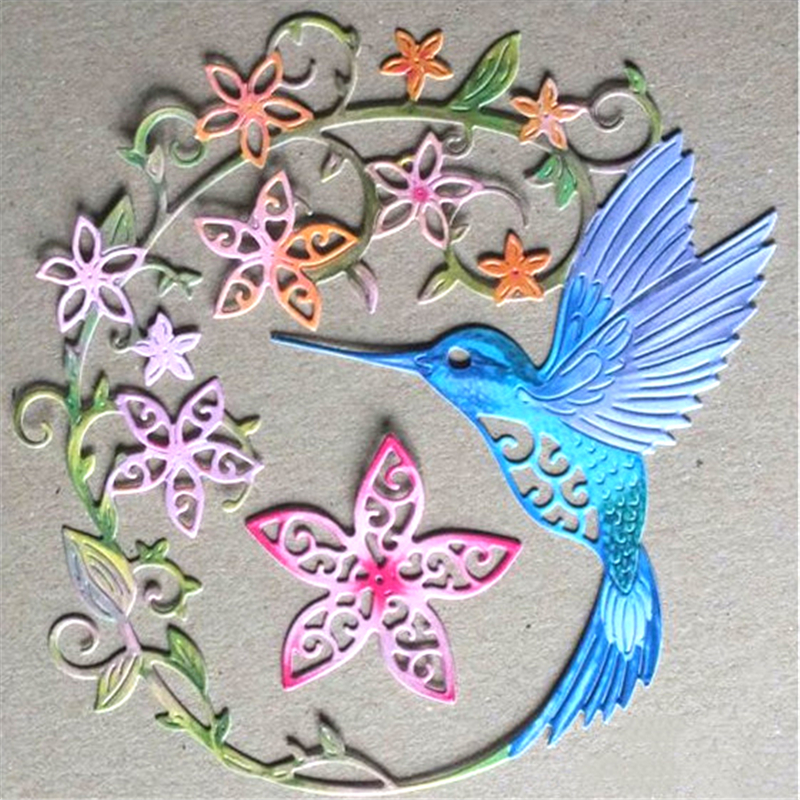 YaMinSanNiO Hummingbird Metal Cutting Dies Scrapbooking Card Making Album Embossing Craft Cut Animal Flower Pattern