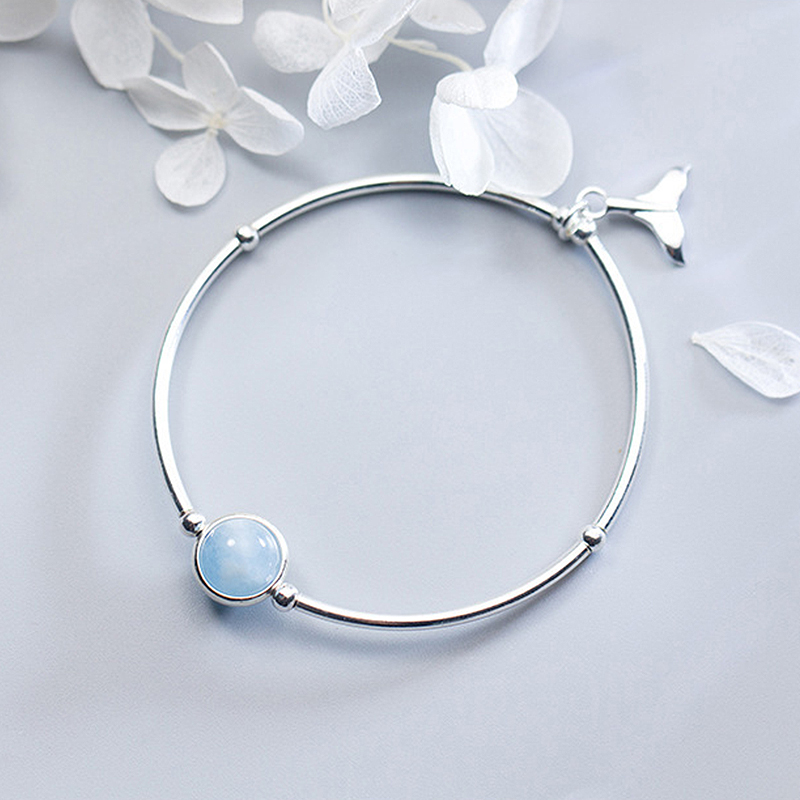 Ruifan Fishtail Shape Sky Blue Natural Aquamarine Gemstone 925 Sterling Silver Women's Bracelet Ladies Fine Jewelry YBR108
