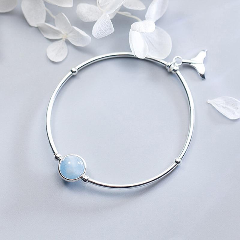 Ruifan Fishtail Shape Sky Blue Natural Aquamarine Gemstone 925 Sterling Silver Women's Bracelet Ladies Fine Jewelry YBR108