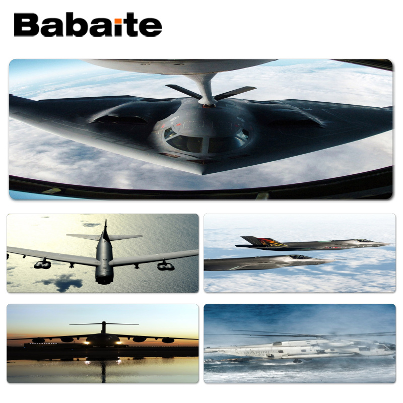 Babaite Hot Sales Aircraft Wide mouse pad gamer play mats Size for 30x70cm 30x90cm Rubber Mousemats