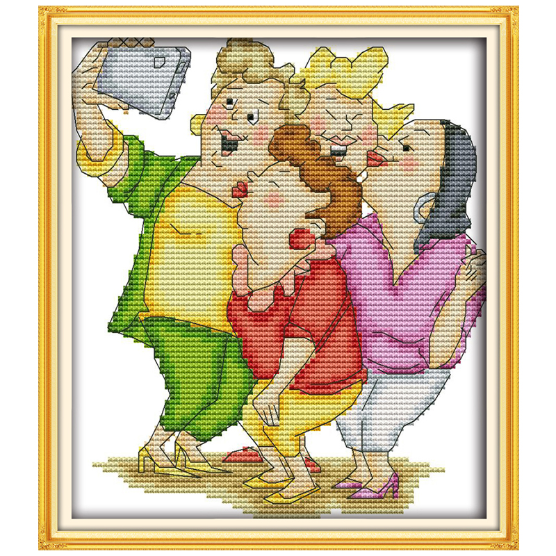 Happily taking pictures counted printed on the canvas DMC 11CT 14CT DIY kit Cross Stitch embroidery needlework Sets home decor image