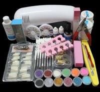 BTT 89 Pro Nail Art UV Gel Kits Tools Pink UV lamp Brush Tips Glue Acrylic Powder Set