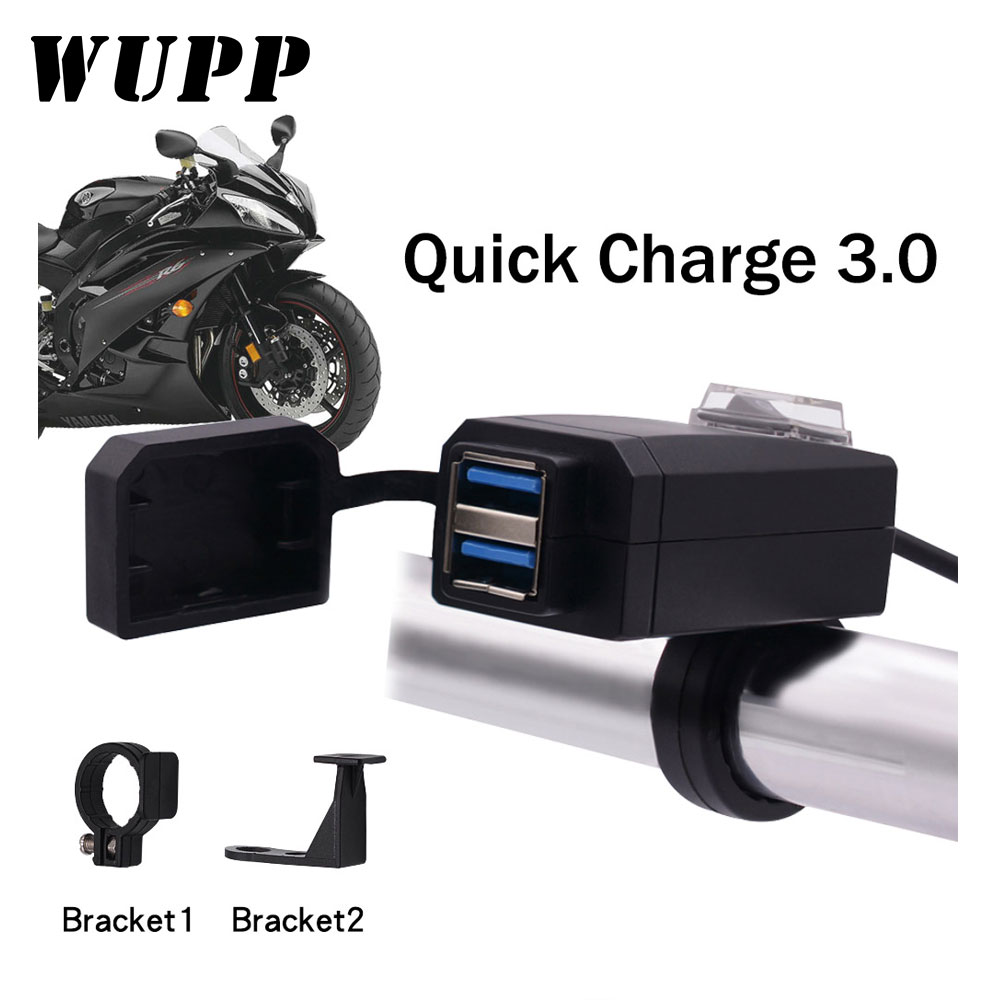 WUPP Universal QC3.0 USB Motorcycle Charger Waterproof Dual USB Quick Change 12V Power Supply Adapter for iphone Samsung Huawei usb