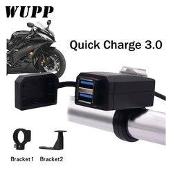 Wupp universal qc3.0 usb carregador da motocicleta à prova ddual água dupla usb mudança rápida 12 v adaptador de alimentação para iphone samsung huawei