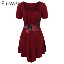 PlusMiss Plus Size 5XL Vintage Floral Embroidered Short Sleeve T Shirts Summer XXXXL XXXL XXL Women Big Size Long Tunic Tops Tee недорого