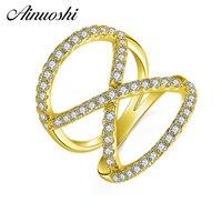 AINUOSHI 10 К твердого желтого золота 8 Форма Twisted Band кластера ткачество Bague Свадебные кольца Свадебные Обручение украшения для Для женщин мужско