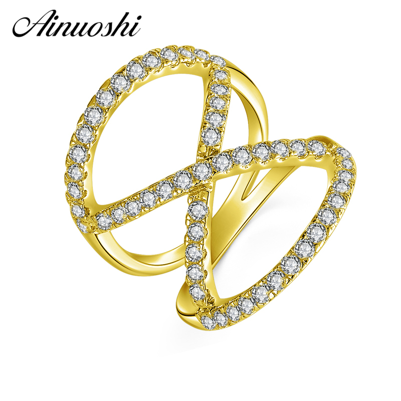 AINUOSHI 10K Solid Yellow Gold 8 Shape Twisted Band Cluster Weaving Bague Bridal Ring Wedding Engagement Jewelry for Women Male weaving shape embellished alloy ring