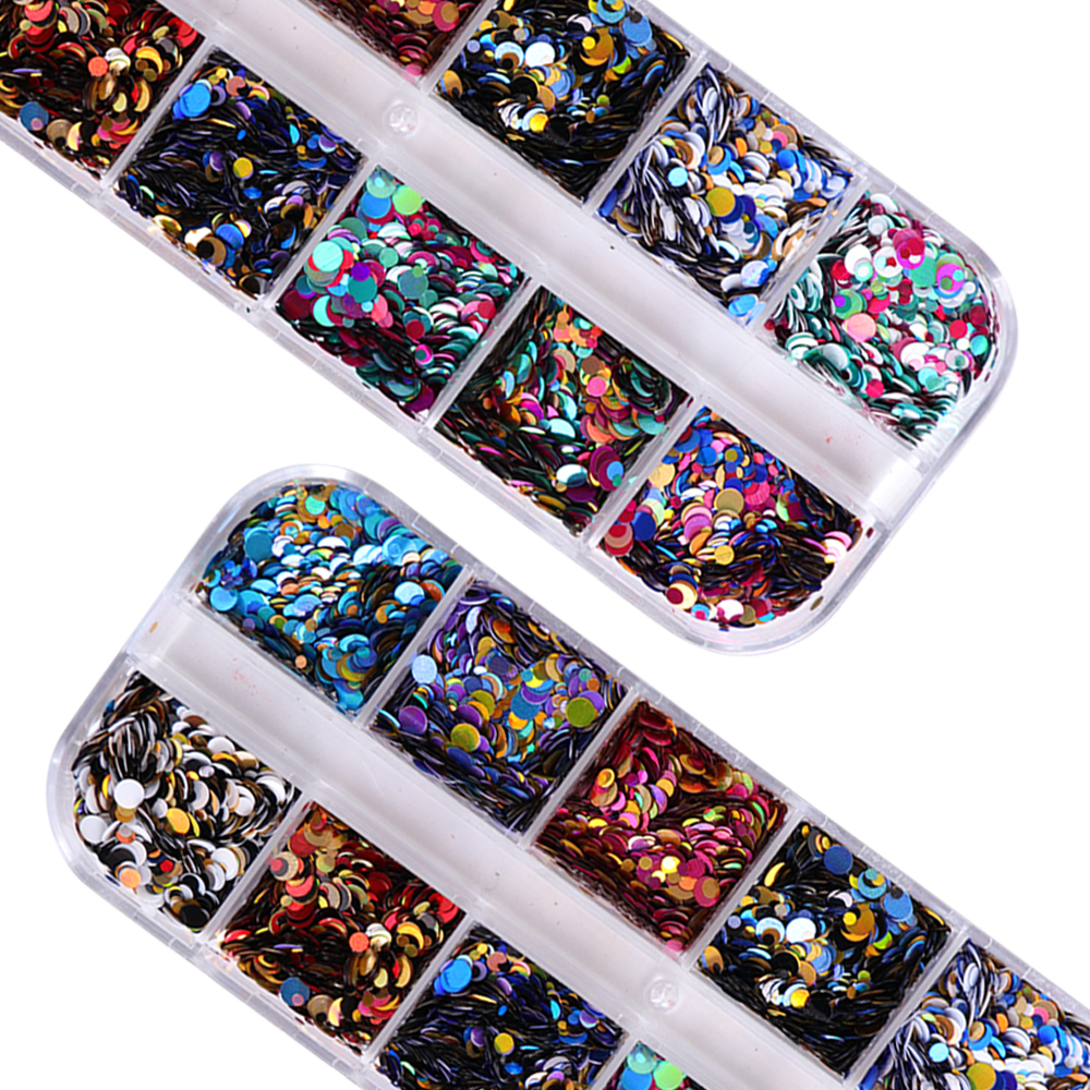 Image 2 - 1 Set 1/2/3 mm Mixed Glitter Nail Sequins Round Shiny Paillette Nail Art Glitter Tips UV Gel 3d Decor Manicure Nail Flakes LAP-in Nail Glitter from Beauty & Health