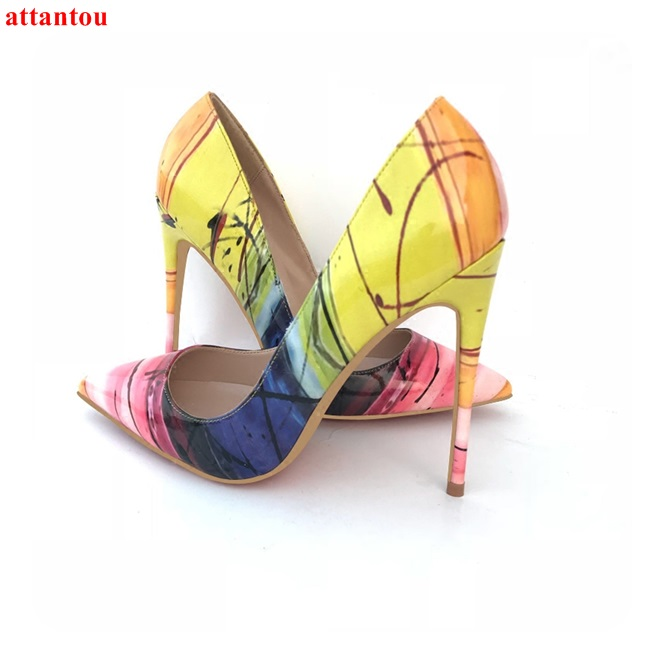 Sexy pumps yellow printed women high heels plus Size 43 44 slip-on pointed toe design female dress shoes stiletto single shoes ornate printed pocket design dress