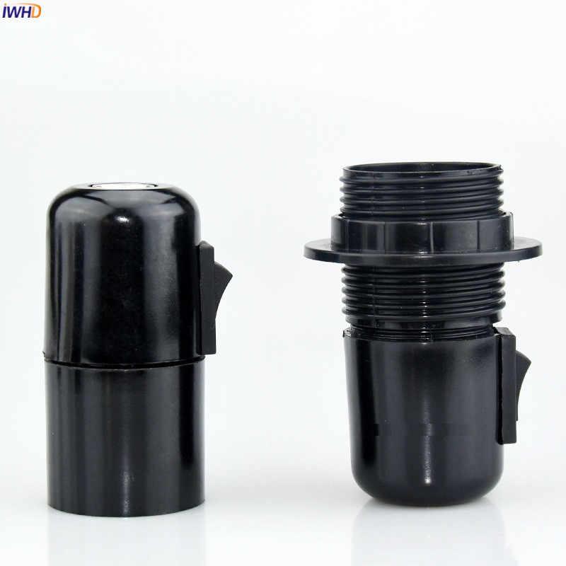 IWHD Plastic Soquete E27 Lamp Holder 110-220V Heat Resistant Switch Fitting E27 Socket Bulb Light Holder Portalamparas CE UL