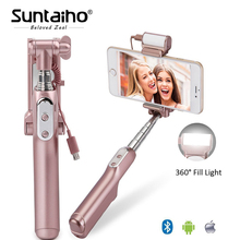 Suntaiho Bluetooth Monopod Self Stick with Rear Mirror and Light Remote Shutter Monopod Fill Light for iPhone 8 7 6s palo selfie