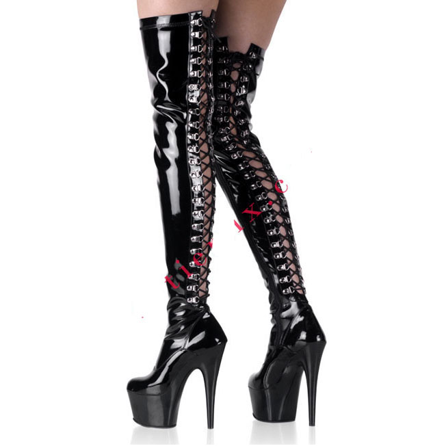 15CM High Height Sex boots Women's Heels Round Top Thin Heel platform Over-the-Knee Boots  Heels  No.3408B 20cm high height sex boots pu platform hoof heels over the knee boots no 13667