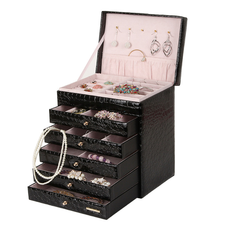 buy extra large jewelry cabinet vintage jewellery armoire pu bracelets box necklace carrying case leather ring display casket zg209 from - Large Jewelry Armoire