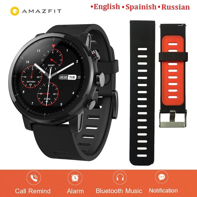 Versione inglese Huami Amazfit Astuto Della Vigilanza Stratos 2 GPS PPG Monitor di Frequenza Cardiaca di 5ATM Impermeabile Sport Smartwatch