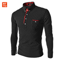 2016 Solid Polo Shirt Men Dot print Slim Fit Long Sleeve Polo Homme Shirt Casual Business Clothing Casual Shirts XXXL