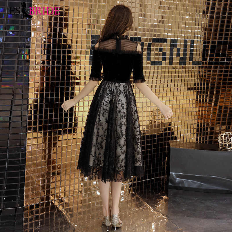 Ocasião especial vestido de festa de formatura vestido de renda preta apliques vestido formal feminino elegante quinceanera escritório vestido de noite es2536