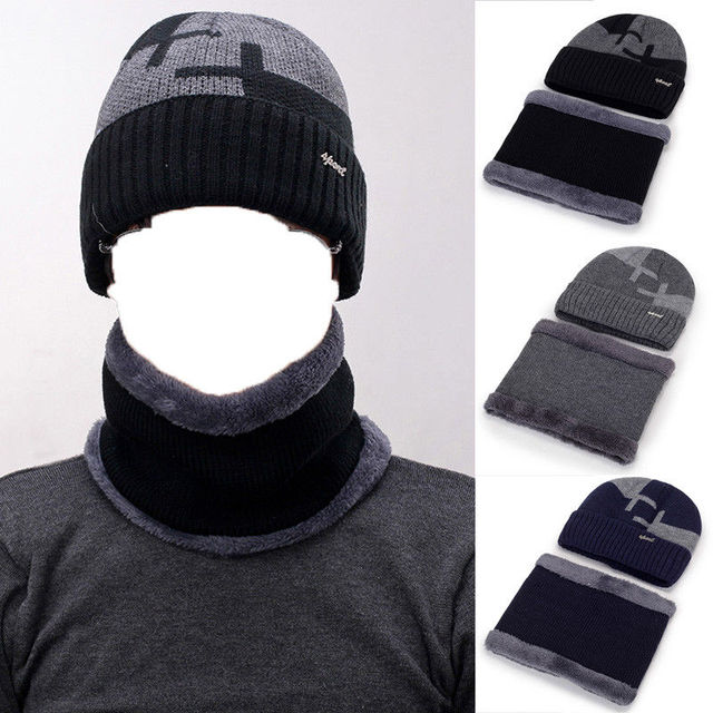 New Style Men s Winter Knit Hat Beanie Baggy Warm Wool Fleece Ski Cap +  Scarf Neckerchief 5dee587d92a