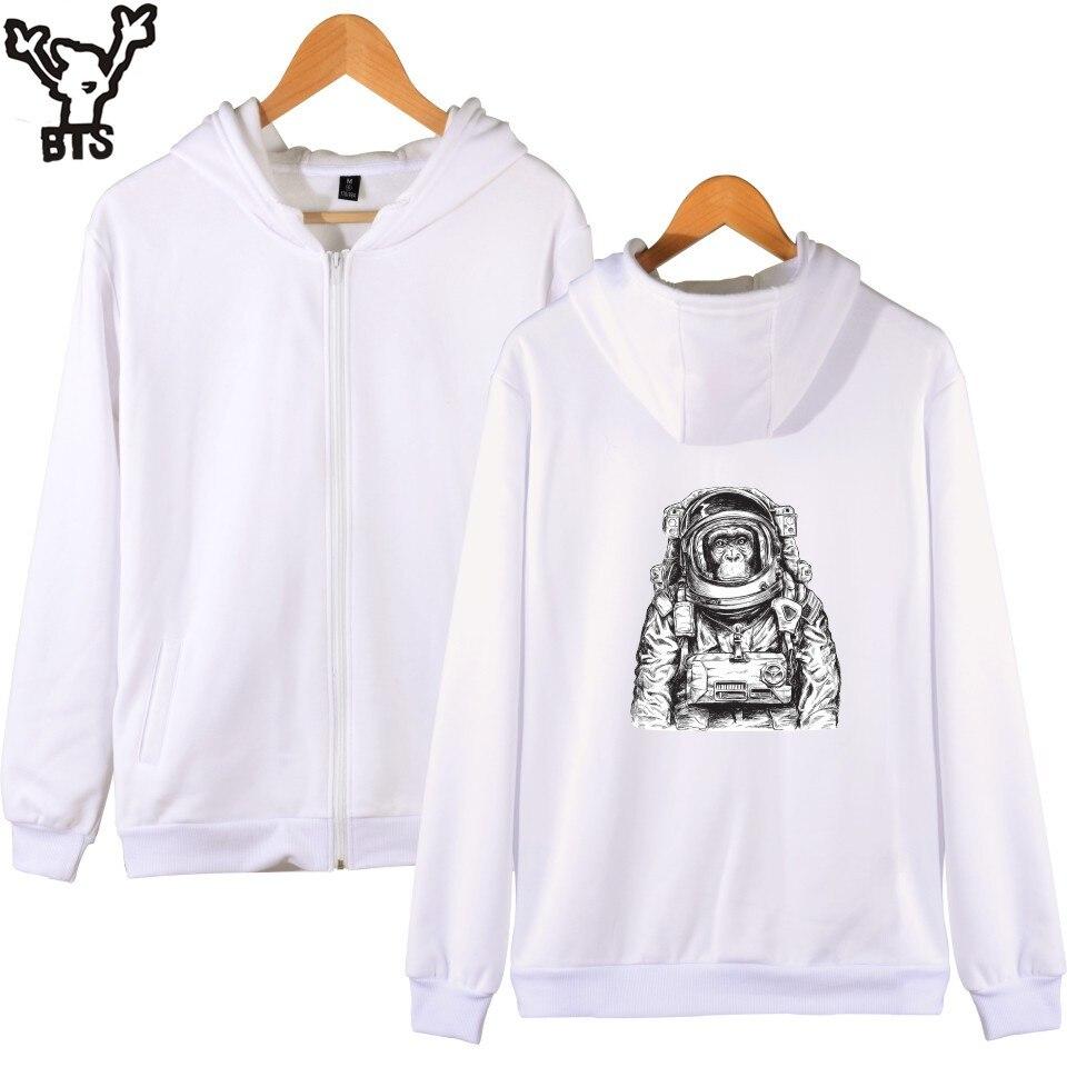 6d1b4d6be7166 KPOP Space orang outan Design sweat à capuche Zipper noir/blanc veste hiver  décontracté hommes marque Hoodies Streetwear Style Plus dans Hoodies et  Pulls ...