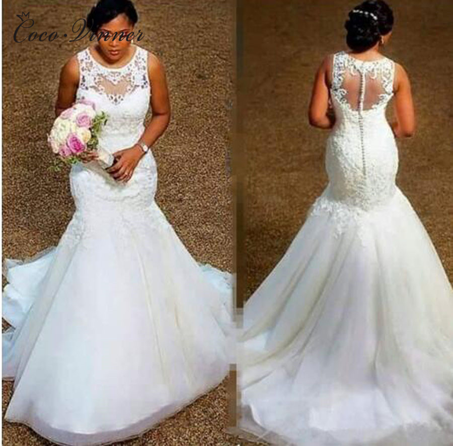 Illusion Back With Button African Mermaid Wedding Dress 2019 New Sleeveless Plus Size Pure White Wedding Gown Bride Dress W0389