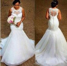 Robe de mariée sirène africaine sans manches à dos, Illusion, blanc pur, grande taille, avec bouton, nouvelle collection 2020, W0389