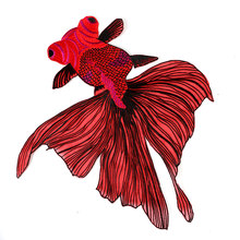 38*35 cm Fabric Red Fish Lace Sewing Applique Lace Collar Neckline Collar Applique free shipping NL079(China)