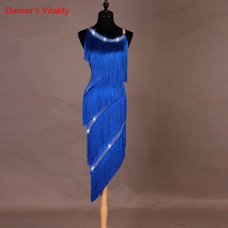 Custom Made Women's Dance Dress Latin Girls Rumba Cha-cha Skirt Ballroom Competition Clothing Costume Dance Diamond Tassel Dress